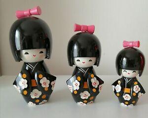 Kimmidoll Japanese Kokeshi  Wooden Doll Set of Three Kawaii