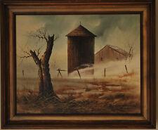 Everett Woodson Vintage Oil On Canvas Framed Painting Country Barn Landscape