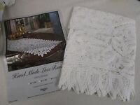 """NEW OMUSA HAND MADE WHITE LACE TABLE RUNNER 16"""" X 72"""""""