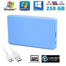 "250GB Blue Portable External Hard Drive for Windows PS3 & Mac 2.5"" USB 3.0"