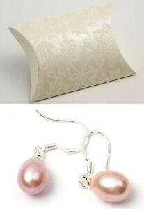 Real pink freshwater pearl drop earrings ear rings silver back new in gift box