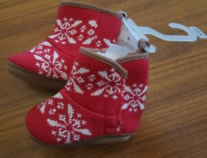 NEW Old Navy Girls 0-3 3-6 MONTHS 'Fairisle' Crib Shoe Booties RED Boots #45218