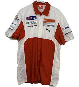 DUCATI Corse Moto GP Tim POLO Buttons Bridgestone Battlax T Shirt Red ups Sz L