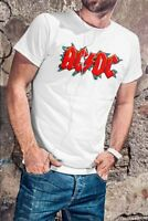 AC/DC Men White T-shirt ACDC Rock Band Fan Tee Logo Shirt