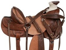 15 16 WESTERN RANCH ROPING ROPER TRAIL COWBOY HORSE LEATHER SADDLE TACK SET