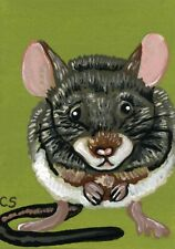 ACEO ATC Original Miniature Painting Mouse Rodent Pet Art -Carla Smale