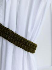 Curtain Tiebacks Tie Backs Dark Solid Olive Green Basic Simple Handmade Crochet