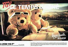 Publicité Advertising 067  1986  SNCF train ( 2p) Paris Lyon  Tgv train