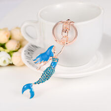 Key Chain Key Ring Charm Lovely Charming Mermaid Crystal Rhinestone Keychain
