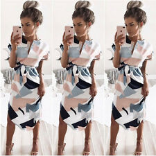 New Women Y-neck Short Sleeve Asymmetrical Knee-length Brief Office Casual Dress