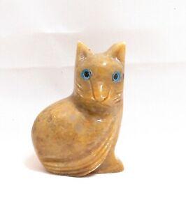 chat en stéatite miniature de collection, cat, poes,chat en pierre   TP12-03