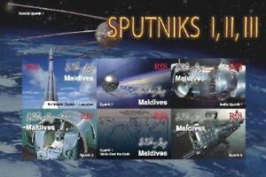 Maldives - Space/Sputnik Probe l, ll and lll Stamp - Sheet of 6 MNH