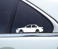 2X Lowered car silhouette stickers -for Mitsubishi lancer Evo 1 2 3 (no spoiler)