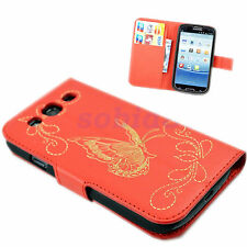 Butterfly Leather Folding Wallet Stand Case Cover For Samsung Galaxy S3 i9300