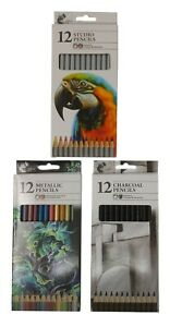 12 Pack Metallic Studio Charcoal Watercolour Pencils Tones Shades Vibrant Colour