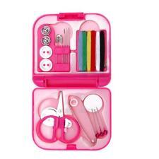 UN3F Sewing Kits Box Mini Needle Threads Buttons Scissor Thimble Portable Home
