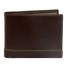 COLE BROTHERS - BROWN SOFT GRAIN LEATHER BILLFOLD WALLET WITH LIME GREEN TRIM