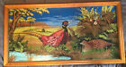 Framed Colorful Pheasant Tapestry Under Glass 21inx41in