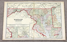 1906 Maryland Delaware Map Railroads Counties Townships Large Double Page