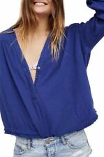 NWT FREE PEOPLE Sz L CHANGING HORIZONS CRINKLE GAUZE PULLOVER TOP BLUE $88