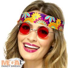 Red Hippie Specs Adults Fancy Dress 70s Hippy Lenon Celebrity Costume Glasses