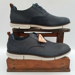 Clarks TOR Trigenic Lace Up Derby Shoes Navy Nubuck Leather Mens Size UK 8G