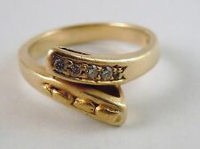 100% Genuine 18k Solid Heavy Gold Magnificient 0.06cts Diamond Snake Ring Sz 7.5