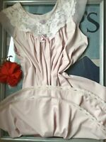 SHADOWLINE vintage pale pink nylon & lace babydoll nightgown house dress - Sm/Md