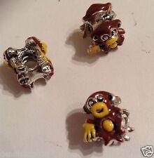 Enamel double sided monkey stopper spacer charm bead  x 1 European ANIMALS E98