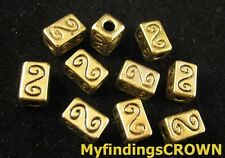 30 pcs Antiqued gold Spiral Square spacer beads FC1518