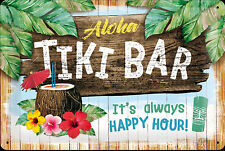 Nostalgic Art Aloha Tiki BAR It's Always Happy Heure ! Plaque 20 X 30 CM