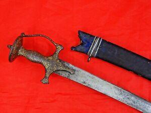 FINE ANTIQUE TULWAR SWORD ISLAMIC EASTERN GOLD HILT Mughal India dagger 18 cent.
