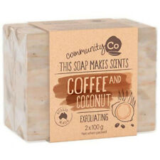 2 x COMMUNITY CO SOAP COCONUT & COFFEE 100g EXFOLIATING HAND FULL BODY CLEANING