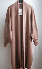 NWT ZARA Brick Long Jacquard Knit Cardigan Coat Size M Ref.1822/129
