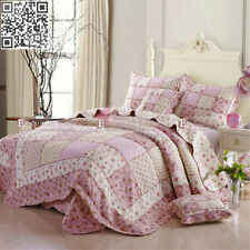 100% Cotton Quilted Coverlet Bedspread Set Queen King Size Bed Floral 230x250CM