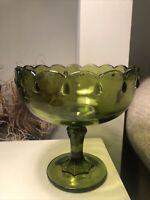 Vintage Green Pedestal Fruit Bowl Compote Teardrop Pattern Indiana Glass