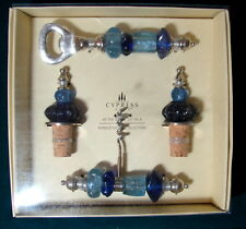 NIB Cypress Home Mango Moon AT THE BAR Cobalt Set of 4 Wine Stoppers Corkscrew &