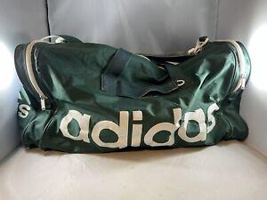 Vintage ADIDAS DUFFLE BAG Jumbo Gym Travel Retro Spellout Logo Duffel - Green