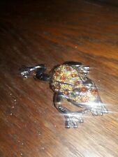 Silver Frog Trinket-Jewelry Box With Brown & Gold Crystals Stal