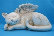 ❤️ Cat Memorial Angels Wings Sleeping Cat Statue Ornament Resin Plaque 26cm ❤️