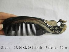 Exquisite Chinese Old Ox Horn Hand-Carved Comb