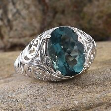 BELGIAN TEAL FLUORITE 6.90 CT SOLITAIRE RING IN PLATINUM OVER STERLING SILVER
