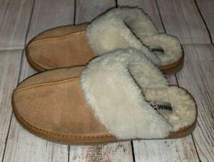 Minnetonka Women Chesney Clog Slipper Mule US9 Suede Faux Fur Lined Slip On