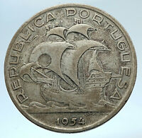1954 PORTUGAL with PORTUGUESE SAILING SHIP Genuine Silver 10 Escudos Coin i74330