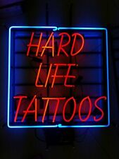"""New Hard Life Tattoos Neon Light Sign 24""""x20"""" Lamp Poster Real Glass Beer Bar"""