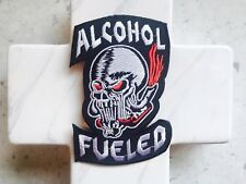 Alcohol Furled Biker Club Bike Burning Skull Iron On Patches Patch
