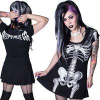 Kreepsville 666 black with white skeleton flare dress, alternative clothing