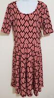 LulaRoe Nicole Dress - Womens - Red/White/Black Geometric Pattern - Size XL NWT