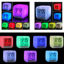 Alarm Clock 7 LED Color Changing Glow Morning Wake Up Bedroom Digital Termometer