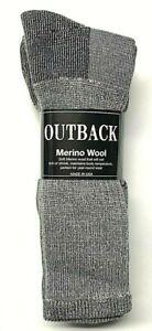 3 Pair Men's Out Door Merino Wool Work / Hiking Gray Boot Sock SZ 9-11,USA.